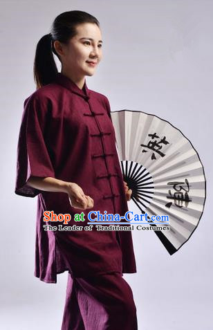 Top Linen Kung Fu Costume Martial Arts Kung Fu Training Uniform Gongfu Shaolin Wushu Clothing Tai Chi Taiji Teacher Suits Uniforms for Women