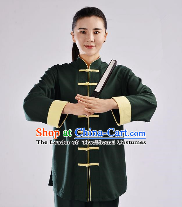 Top Cross Elastic Cotton Kung Fu Costume Martial Arts Kung Fu Training Uniform Tang Suit Gongfu Shaolin Wushu Clothing Tai Chi Taiji Teacher Suits Uniforms for Women