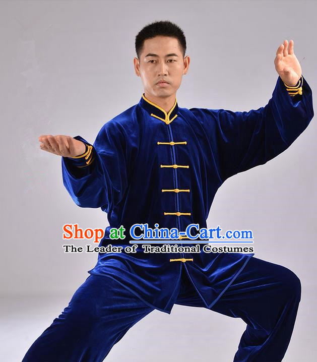 Traditional Chinese Top Upset South Korea Velvet Pleuche Kung Fu Costume Martial Arts Kung Fu Training Uniform Tang Suit Gongfu Shaolin Wushu Clothing Tai Chi Taiji Teacher Suits Uniforms for Men