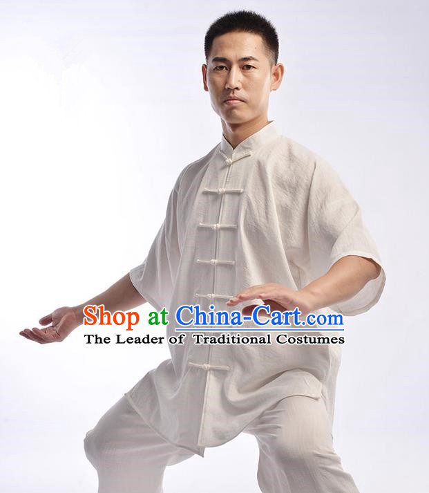 Traditional Chinese Top Linen Short Sleeve Kung Fu Costume Martial Arts Kung Fu Training Uniform Tang Suit Gongfu Shaolin Wushu Clothing Tai Chi Taiji Teacher Suits Uniforms for Men