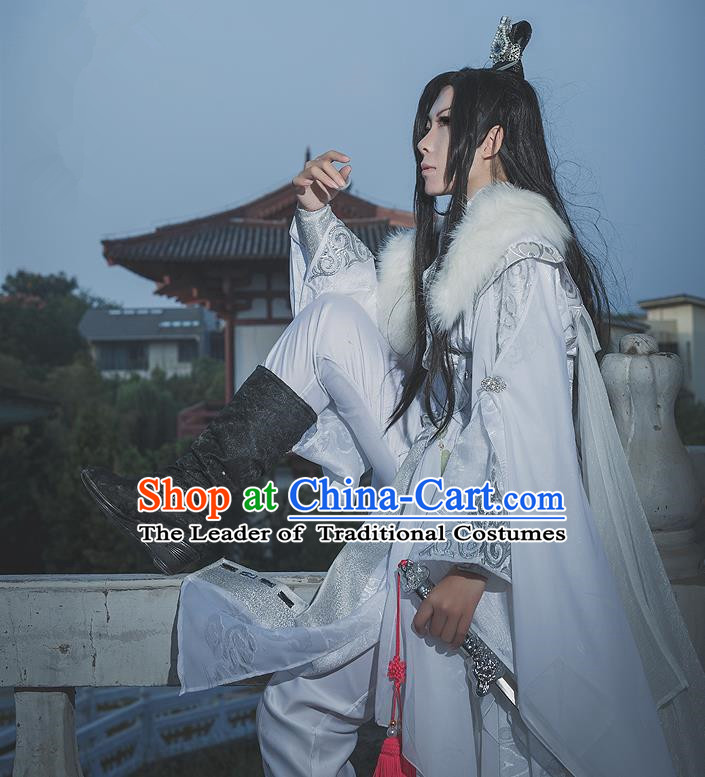 Chinese Ancient Cosplay Costumes, Chinese Traditional Embroidered Clothes, Ancient Chinese Cosplay Swordsman Knight Costume Complete Set for Men