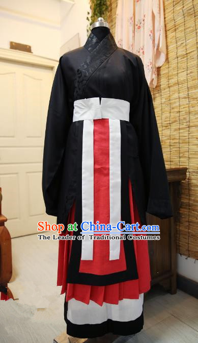 Traditional Chinese Han Dynasty Emperor Embroidered Costume, Asian China Ancient Hanfu Clothing for Men