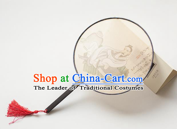 Traditional Chinese Palace Lady Accessories Hanfu Circular Fans, Asian China Ancient Ink Painting Round Fan for Women