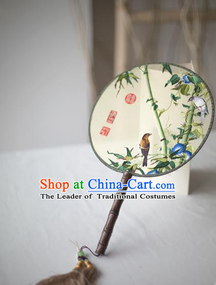 Traditional Chinese Palace Lady Accessories Hanfu Embroidered Birds Fans, Asian China Ancient Round Fan for Women