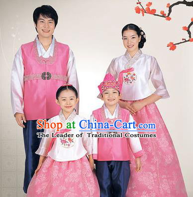 Traditional Korean Costumes Parent-Child Outfit, Korea Hanbok Court Embroidered Clothing for Family
