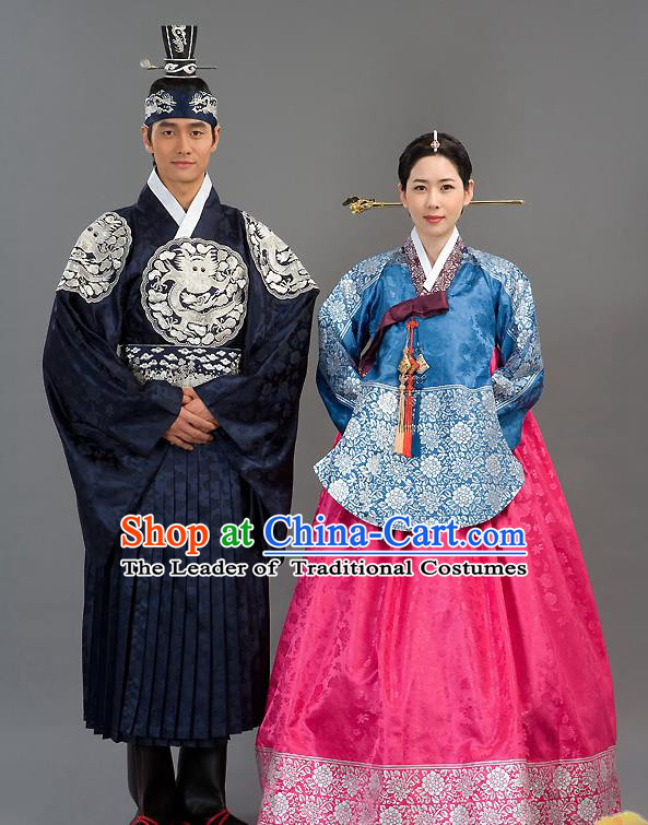 Traditional Korean Costumes Imperial Consort Wedding Dress, Asian Korea Hanbok Court Bride Embroidered Clothing for Women