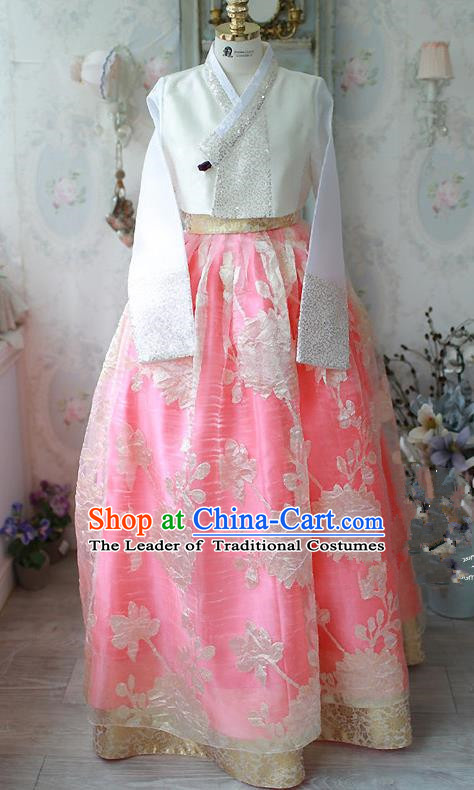 Traditional Korean Costumes Imperial Palace Lady Wedding White Blouse and Pink Dress, Asian Korea Hanbok Court Bride Embroidered Clothing for Women
