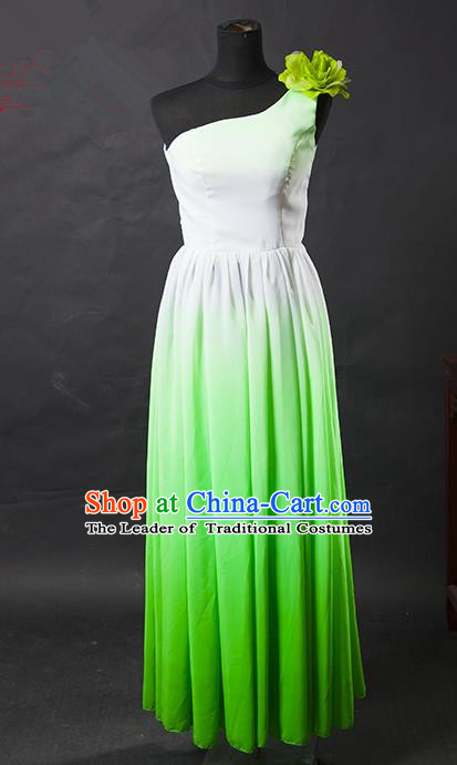 Traditional Chinese Modern Dancing Costume, Women Opening Dance Costume, Modern Dance Green Dress for Women