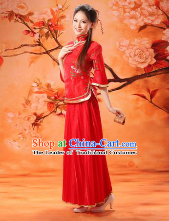 Traditional Ancient Chinese Manchu Nobility Lady Red Costume, Asian Chinese Qing Dynasty Embroidered Dress Clothing for Women