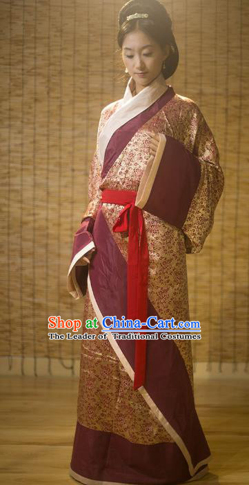 Traditional Chinese Han Dynasty Palace Lady Embroidered Costume, Asian China Ancient Hanfu Curve Bottom Clothing for Women