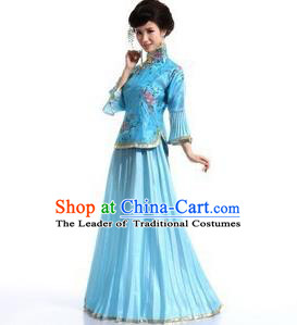 Traditional Ancient Chinese Manchu Nobility Lady Blue Xiuhe Suit Costume, Asian Chinese Qing Dynasty Embroidered Dress Clothing for Women