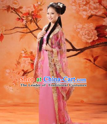 Traditional Ancient Chinese Palace Lady Fairy Costume, Asian Chinese Tang Dynasty Imperial Consort Dress Clothing for Women