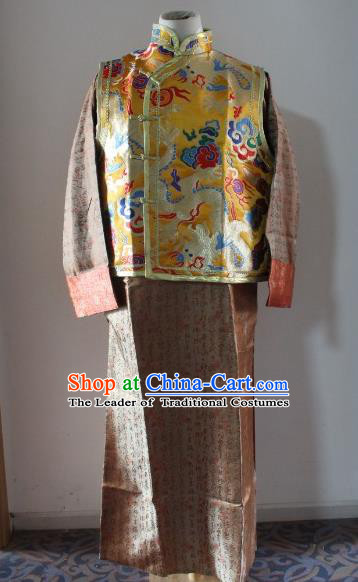 Traditional Ancient Chinese Manchu Prince Mandarin Jacket Costume, Asian Chinese Qing Dynasty Emperor Clothing for Men