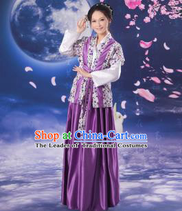Asian China Ancient Han Dynasty Young Lady Costume, Traditional Chinese Hanfu Country Woman Purple Clothing