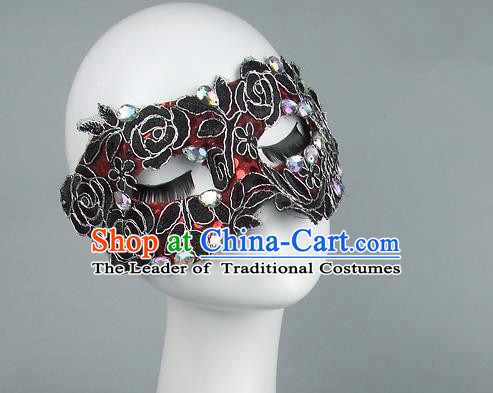 Top Grade Handmade Exaggerate Fancy Ball Model Show Red Crystal Mask, Halloween Ceremonial Occasions Face Mask
