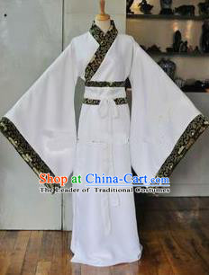 Asian China Ancient Han Dynasty Scholar Costume, Traditional Chinese Hanfu Embroidered White Robe Clothing for Men