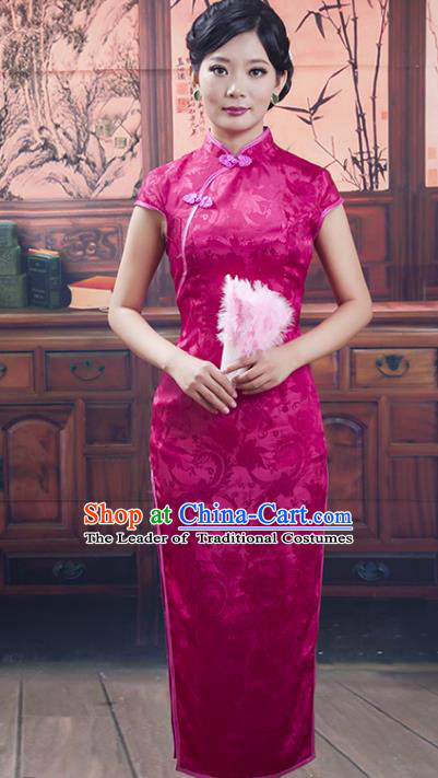 Traditional Chinese National Costume Purple Wedding Qipao, China Ancient Cheongsam Silk Chirpaur Dress for Women