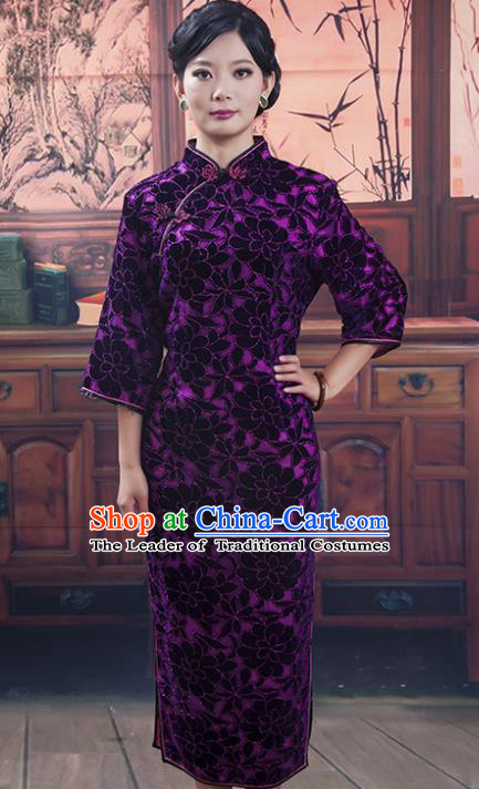 Traditional Chinese National Costume Tang Suit Qipao, China Ancient Cheongsam Embroidered Chirpaur Dress for Women