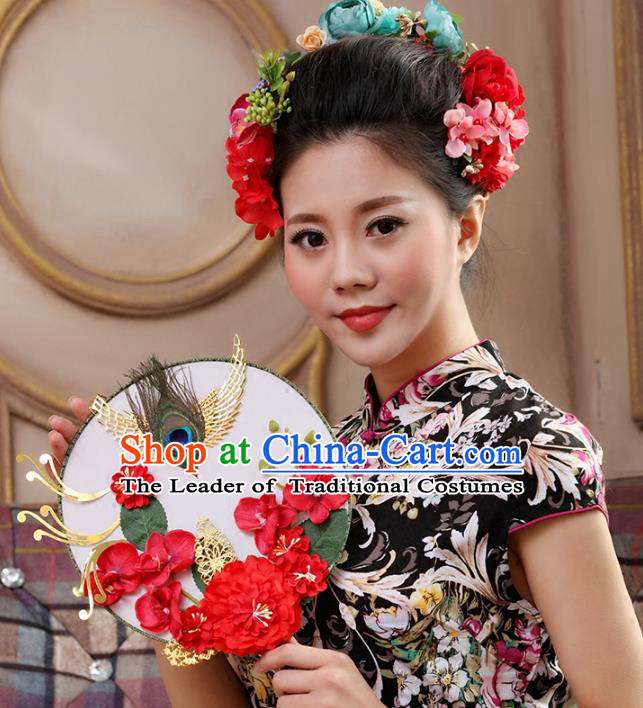 Traditional Handmade Chinese Ancient Wedding Red Peony Feather Round Fans, Hanfu Palace Lady Bride Mandarin Fans for Women
