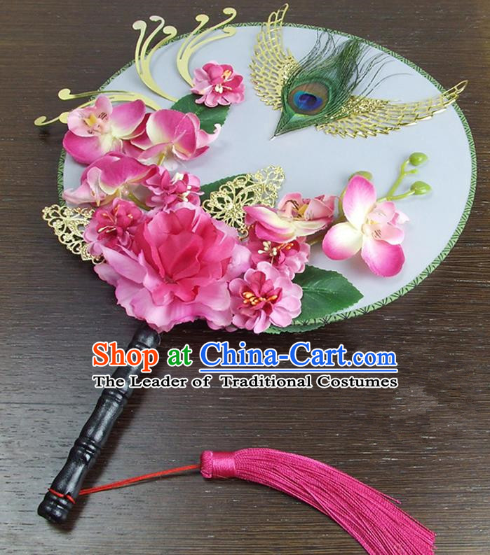 Traditional Handmade Chinese Ancient Wedding Rosy Peony Feather Round Fans, Hanfu Palace Lady Bride Mandarin Fans for Women