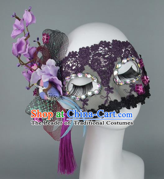 Top Grade Handmade Exaggerate Fancy Ball Accessories Purple Flowers Lace Mask, Halloween Model Show Ceremonial Occasions Face Mask