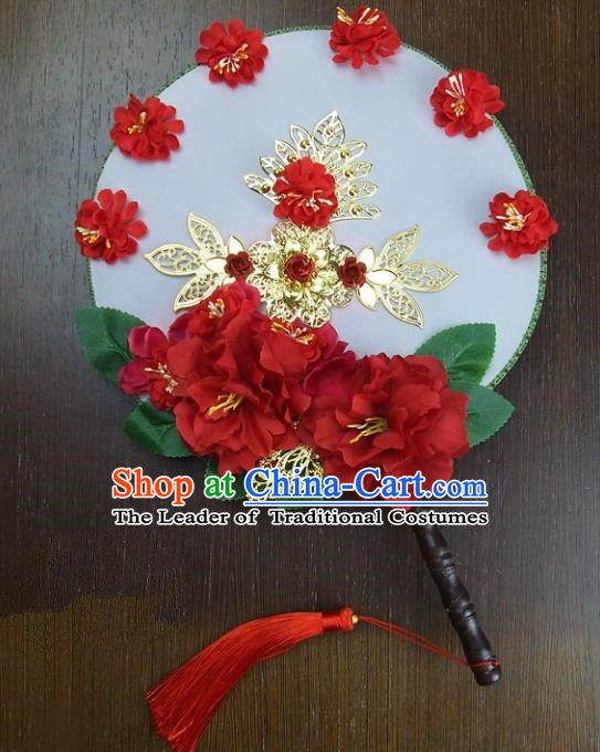 Traditional Handmade Chinese Ancient Wedding Red Peony Xiuhe Suit Round Fans, Hanfu Palace Lady Bride Mandarin Fans for Women