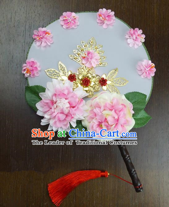Traditional Handmade Chinese Ancient Wedding Pink Peony Xiuhe Suit Round Fans, Hanfu Palace Lady Bride Mandarin Fans for Women