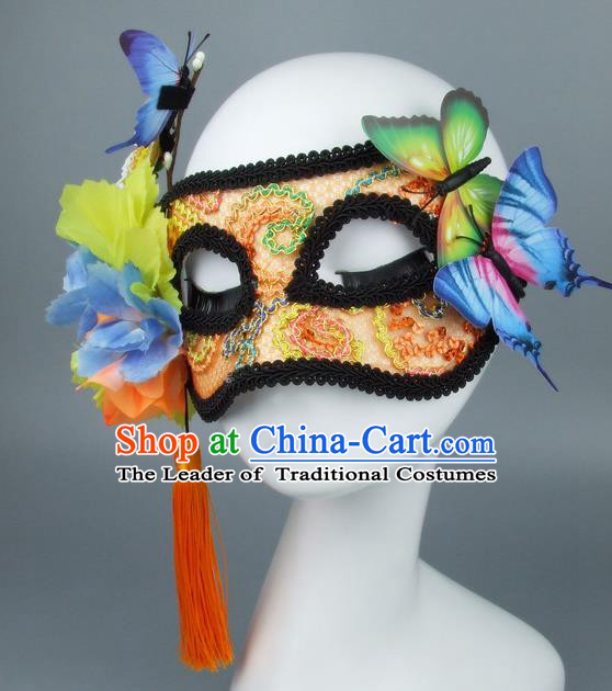 Handmade Halloween Fancy Ball Accessories Orange Mask, Ceremonial Occasions Miami Model Show Lace Face Mask