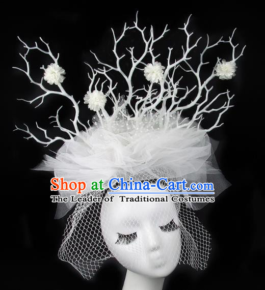 Handmade Exaggerate Fancy Ball Hair Accessories White Veil Branch Headwear, Halloween Ceremonial Occasions Model Show Headdress