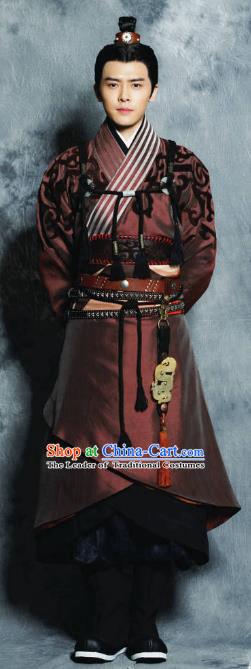 Traditional Chinese Ancient Tang Dynasties Swordsman Prince Embroidered Costume and Handmade Headpiece Complete Set