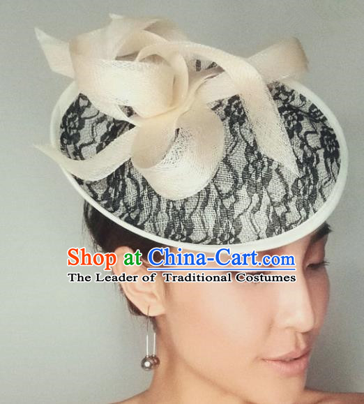 Handmade Baroque Hair Accessories Model Show Wedding Top Hat, Bride Ceremonial Occasions Lace Headwear for Women