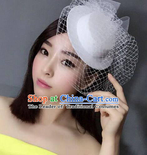 Handmade Baroque Hair Accessories Model Show White Top Hat, Bride Ceremonial Occasions Headwear for Women