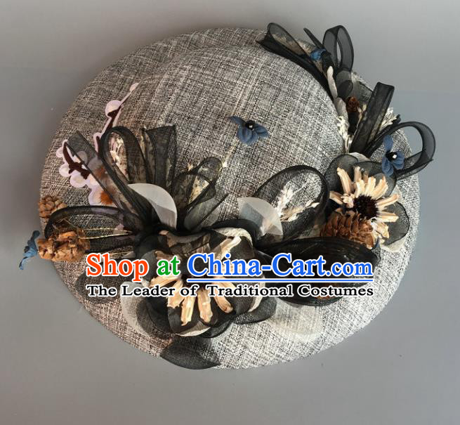 Handmade Baroque Hair Accessories Model Show Flowers Grey Top Hat, Bride Ceremonial Occasions Headwear for Women