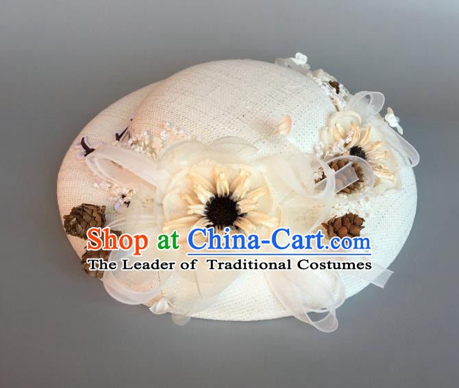 Handmade Baroque Hair Accessories Model Show Flowers White Top Hat, Bride Ceremonial Occasions Headwear for Women