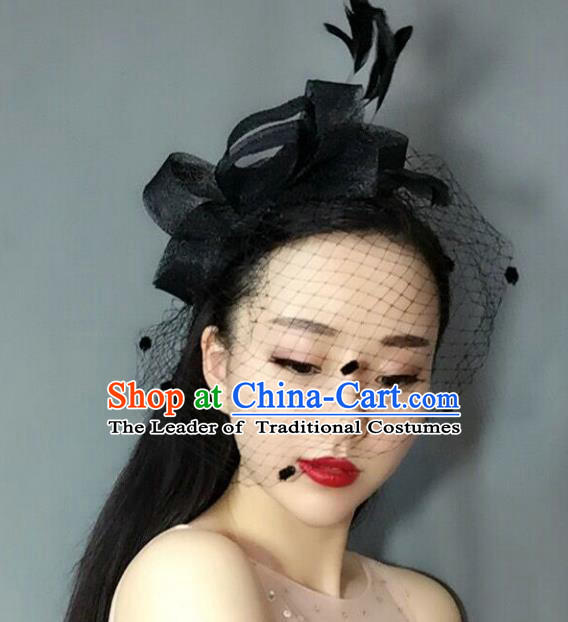 Handmade Baroque Hair Accessories Black Feather Headwear, Bride Ceremonial Occasions Veil Hat for Women