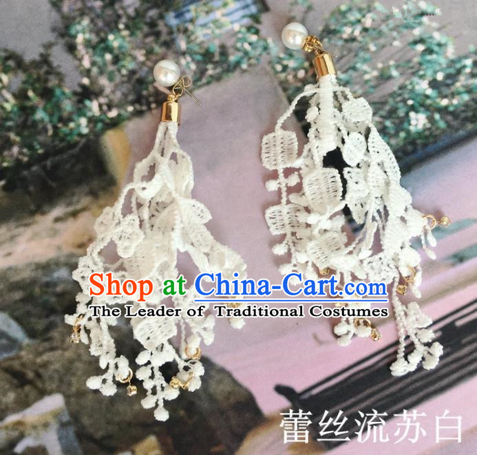 Handmade Wedding Accessories Tassel Earrings, Bride Ceremonial Occasions Vintage White Lace Eardrop for Women