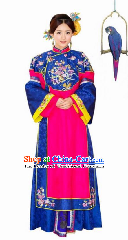 Traditional Chinese Qing Dynasty Palace Lady Embroidered Costume, Asian China Ancient Manchu Princess Dress Clothing for Women