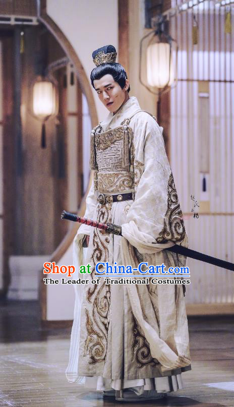 Traditional Chinese Tang Dynasty General Prince Embroidered Costume, Asian China Ancient Swordsman Clothing Complete Set