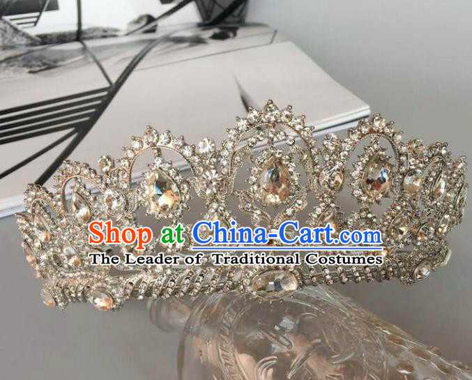 Top Grade Handmade Wedding Hair Accessories Bride Headwear, Baroque Style Crystal Royal Crown for Women