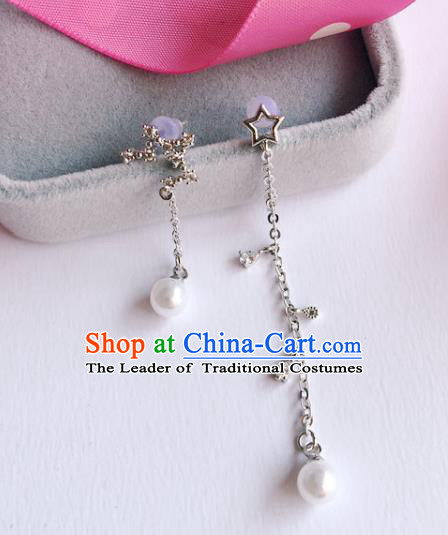 Handmade Wedding Accessories Crystal Earrings, Gothic Bride Ceremonial Occasions Pearls Tassel Eardrop for Women