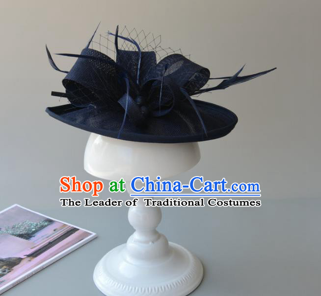 Top Grade Handmade Wedding Hair Accessories Navy Feather Headwear, Baroque Style Bride Hair Stick for Women