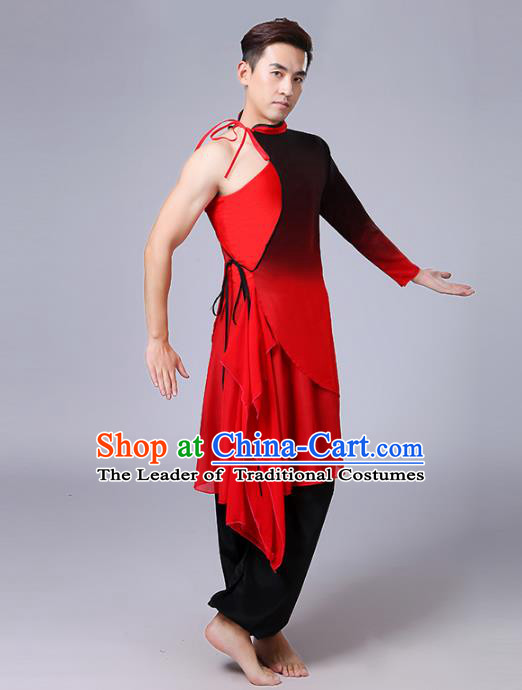 Traditional Chinese Classical Yangge Fan Dance Costume, Folk Dance Uniform Drum Dance Red Clothing for Men