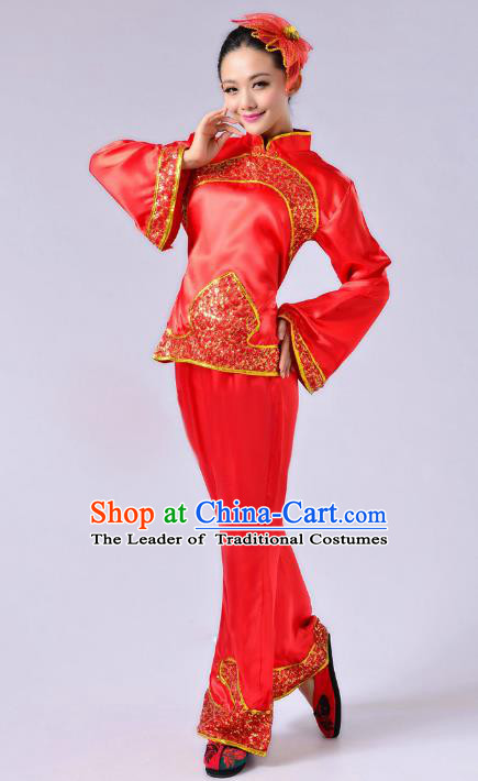 Traditional Chinese Yangge Fan Dance Mandarin Sleeve Satin Costume, Folk Dance Red Uniform Classical Dance Clothing for Women