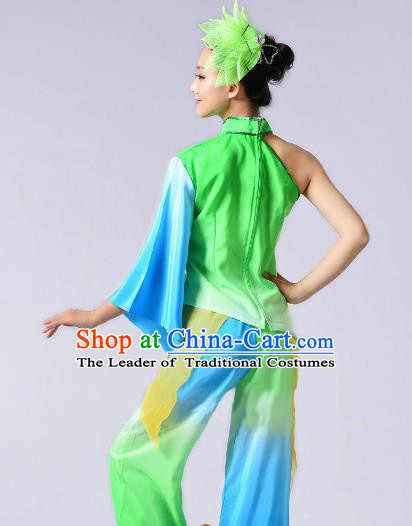 Traditional Chinese Yangge Fan Dance Costume, Folk Dance Green Uniform Classical Dance Clothing for Women