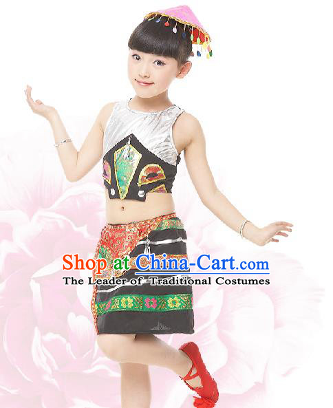 Traditional Chinese Dai Nationality Dance Costume, Children Folk Dance Ethnic Drum Dance Embroidery Clothing for Kids
