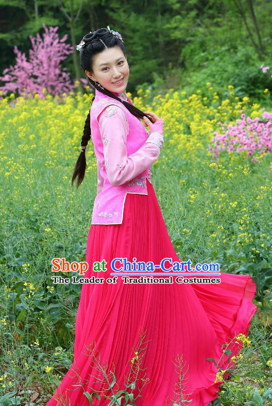 Traditional Chinese Qing Dynasty Young Lady Embroidered Costume, Asian China Ancient Princess Clothing for Women