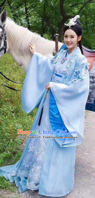 Traditional Chinese Han Dynasty Palace Lady Costume, Asian China Ancient Imperial Princess Embroidered Clothing for Women