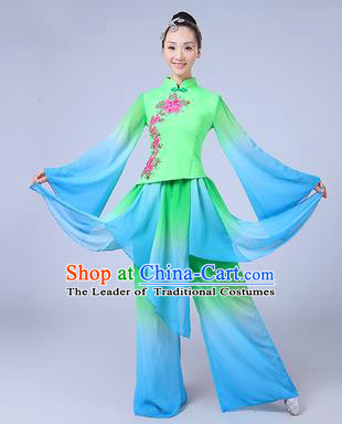 Traditional Chinese Yangge Dance Costume, Folk Fan Dance Green Uniform Classical Umbrella Dance Clothing for Women