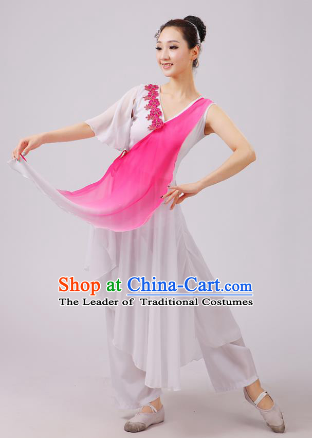 Traditional Chinese Yangge Dance Costume, Folk Fan Dance Pink Uniform Classical Dance Dress Clothing for Women