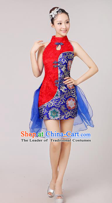 China Modern Dance Professional Competition Costume, Opening Dance Red Embroidered Dress for Women